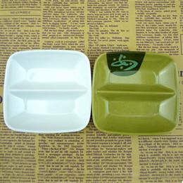 mojando platos Rebajas Plato de plato de melamina para mojar Salsa de vinagre con sabor Plato 2 Enrejado Patata Chip Sushi Placa de aperitivo ZC0001
