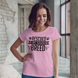 funny slogans Coupons - Rescued Is My Favorite Breed T-shirt Dog Mama Dog Lover Tees Funny Slogan Adopt Dont Shop Fur Mama T Shirt Gift Aesthetic Tops