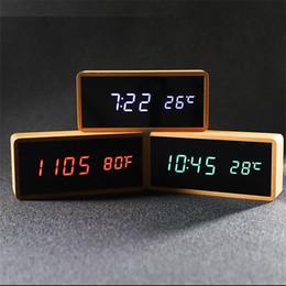 Светодиодные деревянные часы онлайн-Wooden Alarm Clock Rectangle Temperature Electronic Clock Digital LED Desk Bamboo Alarm Watch Snooze Function Home Decor