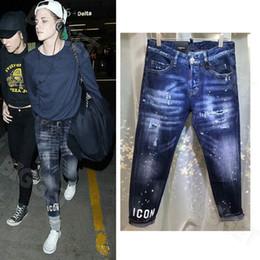 jeans étnicos Rebajas Pintura mezclilla pantalones de mujer salpicado Pre-Dañado Vaqueros ajustados Cool Girl Fit EE.UU. Europa Italia Estilo Diseño