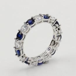 anello in zaffiro blu argento Sconti Lotti all'ingrosso di Stock Sparkling Fashion Jewelry Reale 925 Sterling Silver Blue Sapphire CZ Diamond Stack Wedding Band Ring per le donne regalo