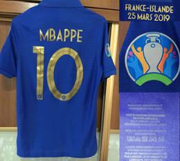 Número 2019 Jugador gastado del partido MBAPPE Jersey Griezmann POGBA KANTE Soccer Jersey con oro Detalles del partido VS Islande Personalizar cualquier nombre Número desde fabricantes