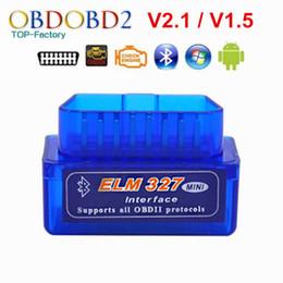 obd2 puede bus código escáner Rebajas Super Mini ELM327 Bluetooth V2.1 / V1.5 OBD2 Herramienta de diagnóstico de coches ELM 327 Bluetooth para Android / Symbian para protocolo OBDII