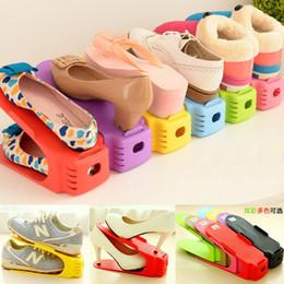 2019 caja plegable de tela Doble capa Organizador de calzado ajustable Calzado ajustable Ranura de soporte Gabinete Ahorro de espacio Armario Soporte para zapatos Estante de almacenamiento Caja de zapatos