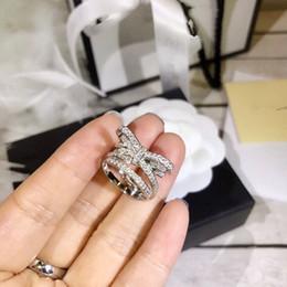 anel de nó de prata esterlina Desconto Luxo Ruban Designer Clássico S925 Prata Esterlina Borboleta Cheia de Cristal Nó Arco Charme Anel Para As Mulheres de Jóias