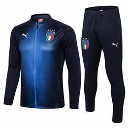 Canada Meilleure vente 18 19 Italie survêtements 2019 italiens domicile bleu VERRATTI costume d'entraînement Zippé Full Zipper Buffon sportswear cheap italy soccer tracksuit Offre