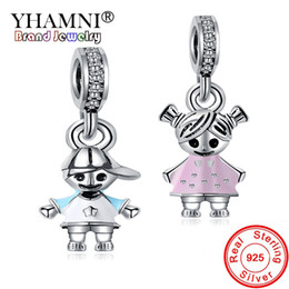 angel girl pendant Promo Codes - YHAMNI HOT SALE Original 925 Solid Silver Charms Boy and Girl Pendant Fit Pandora Charm Bead Bangle Bracelet DIY Jewelry Wholesale K13