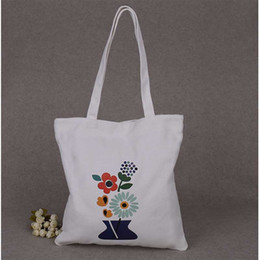 plain white eco bag Promo Codes - 200pcs Ivory White Custom Colorful Logo Canvas Cotton Tote Bag Fashion Plain Nature Cotton Canvas Shoulder Bags Casual Eco Bags