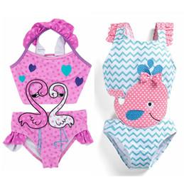 diseño de traje de niña niño Rebajas Baby Girls Swimwear Swan Girl traje de baño One Piece Dots Dolphin Kids traje de baño Niños Swim Wear Summer Kids Clothing 2 diseños YW2849