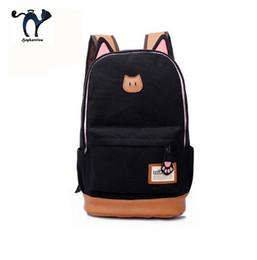 2019 mochila oreja de gato Venta al por mayor- Cute Cat Ear Cartoon Women Canvas Backpack Mochilas escolares para adolescentes Mochilas escolares Mochilas para niños mochila oreja de gato baratos