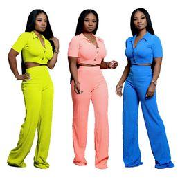 Tuta sportiva da donna T-shirt con bottoni collo a bottoni pantaloni tuta 2 pezzi Set abbigliamento sportivo top corti Pantaloni gamba ampia LJJA2805 da
