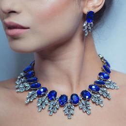 Pendientes de aro de zafiros online-Conjuntos de joyas Azul zafiro collar colgante pendientes de aro para las mujeres envío gratis