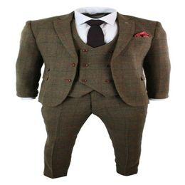 2019 vestito di colore marrone Mens 3 pezzi a spina di pesce Brown check abito su misura Fit Doppio Petto Gilet vestito di colore marrone economici