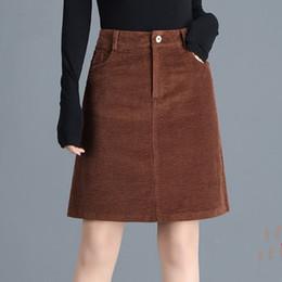 2019 frühling und herbst neue frauen röcke große größe mode tasche hüfte hohe taille rock ein wort lässig cordrock von Fabrikanten