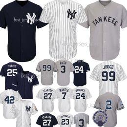 99 Aaron Juiz Nova Iorque camisolas Yankees 25 Torres 2 Jeter 27 GS 24 Camisas Sanchez 3 Ruth 7 Manto Best-Seller Jersey de