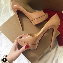 Chaussures de marque de bal en Ligne-luxury designer High Heels women shoes red bottom high heels 13cm Nude black red Leather Sexy Super High Heels prom shoes Dress shoes