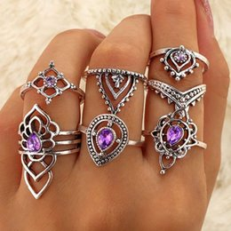 woman ring purple band Promo Codes - 7PCS Set Fashion Boho Vintage Purple Crystal Rhinestone Rings Women Beach Knuckle Ring Set Jewelry