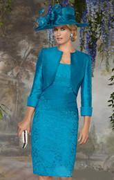 Wholesale Элегантное синее кружево Платья для матери невесты Квадратное колено Ruched Cap Рукав с тафткой для свадьбы Платье для матери жениха