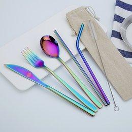 2019 sacos de faca para 7PCS / Set Aço Inox 304 Straw Faqueiro Outdoor portátil Faca e Garfo, Colher Chopsticks Set com saco desconto sacos de faca para