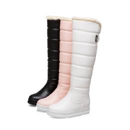 Botte de neige grande taille sexy en Ligne-Bottes d'hiver de neige femmes cuir PU sur le genou bottes longues plate-forme plate chaussures pour dames sexy cuisse chaude haute botas grande taille