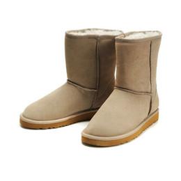 Botas de piel azul online-2019 nuevas botas de piel WGG para damas de invierno australianas clásicas granate negro gris azul botas de nieve de diseño para mujer y rodilla botas rodilla tamaño 5-10