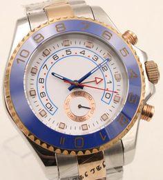 Goldton edelstahl ringe online-44mm automatische mechanische Herrenuhr Uhren weißes Zifferblatt mit drehbaren blauen Top Ring Lünette und zweifarbigen Edelstahlband Rotgold Gehäuse