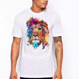 Camiseta de manga corta con diseño de león de colores, camiseta estampada estilo harajuku para hombre, camiseta desde fabricantes