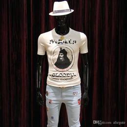 Материал рубашки стиль онлайн-Мужская Летняя Новая LYCRA Материал Марка Футболка Молодежная О-Образным Вырезом Мода Удобная Футболка с Портретом Печати Slim Style