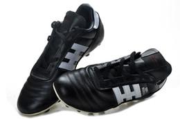 Tacos de fútbol messi negro online-Zapatos de fútbol al aire libre 100% originales negros / blancos Copa Mundial FG Messi Botas de fútbol Botines de fútbol con tobillo Hink