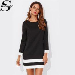 Sheinside Striped Cuff and Hem Dress Nero Girocollo manica lunga Shift Tunica Party Dress Donna Casual autunno autunno Abiti Y190425 da