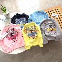 vestiti di caramella di cotone Sconti abbigliamento Felpe Sports Fashion Designers Bambini bambini Maglione ricamato tigre Tessuto di cotone Candy 100-140