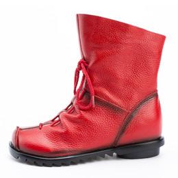 sapatos frontais Desconto Hot Sale-LAKESHI 2019 Vintage Style couro genuíno Mulheres botas flat Sapatinho Calçados Femininos Pele de vaca botas Zip tornozelo frente zapatos mujer