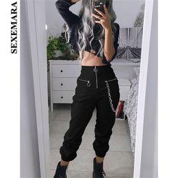 53895780feb6cb Boofeenaa Black High Waist Zippers Harem Pants Women Joggers Harajuku Loose  Trousers With Chain Streetwear Sweatpants C80-af00 Q190510