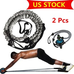 Pull-räder online-US STOCK, Bauchmuskeln Rad Auxiliary Pull Rope Gym Fitness Ab Roller-Widerstand-Bänder Fitnessgeräte drop FY7048