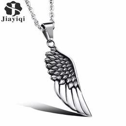 ciondolo pendente da uomo Sconti Jiayiqi moda uomo collane in acciaio inox vintage piuma gotica angelo pendenti in argento placcato accessori gioielli maschili