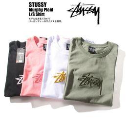 Мужская уличная футболка онлайн-2019 моды Логотип Вышитые с коротким рукавом Хлопок Футболки Япония Street Марка Простой дизайн футболок Сплошные цвета футболки для мужчин женщин