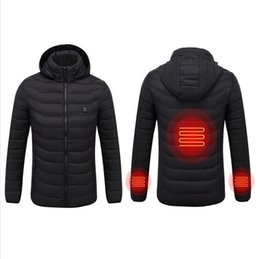 new thermostat Promo Codes - USB Infrared Heating Winter Jacket Men New Winter Warm Men Smart Thermostat Pure Color Hooded Heated Parkas Warm Jacket