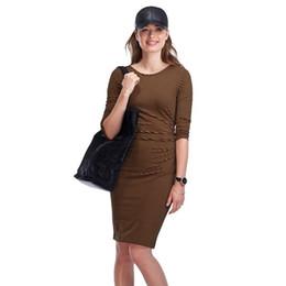 Vestidos ocidentais metade on-line-Mulheres de maternidade dress verão meia manga o-pescoço na altura do joelho tarja dress grávida nova mãe moda estilo ocidental slim fit vestidos