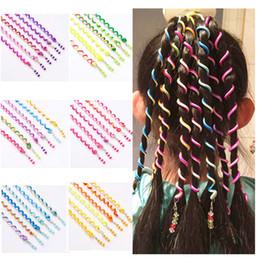 Завитки волос онлайн-6PCS Rainbow Color Hair Braiders Headband Cute Girls Hair Curling Band Water Wave DIY Styling Tools Accessories