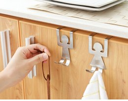 2019 armário de cozinha grátis Portas de Aço Inoxidável Voltar Ganchos Criativo Nail-free Casa Armário de Cozinha Personagem de Desenho Animado Ganchos Da Porta 1 par armário de cozinha grátis barato