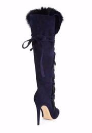 tacones altos de gamuza azul Rebajas La rodilla de tacón alto de la venta caliente-Invierno más nueva piel para la mujer Botas punta estrecha Deep Blue Suede con cordones Botas de Mujer Sexy Boots