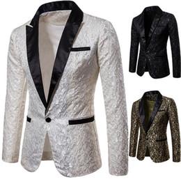 Fumo elegante on-line-Homens Slim Fit Blazer Blazers Floral Mens Blazers Floral Dress Blazers Elegant Blazer casamento e paletó