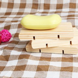 Suporte para bandeja de madeira on-line-Natural Pratos de sabão de madeira carrinho de madeira Sabão cremalheira Sabão Titular Dish Bandeja Banho Duche Suporte de armazenamento