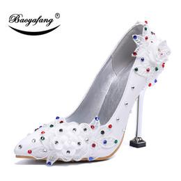 490881608 BaoYaFang Nova chegada flor das mulheres sapatos de casamento da moda doce partido  sapato mulher bombas de salto Alto Feminino vestido de festa sapatos flor  ...