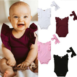 f81c9f78f825 2PCS Toddler Baby Girls Pure Cotton Multi-color Flying Sleeve Romper  Ruffled Bodysuit Overall Jumpsuit Clothes Outfits