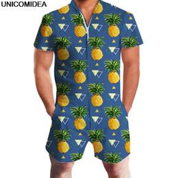 2019 peça única de verão Abacaxi Impressão Homens Romper Havaí Jumpsuit Romper Verão Hoiday Playsuit Macacão One Piece Slim Fit Conjuntos de Homens Casuais Beachwear peça única de verão barato