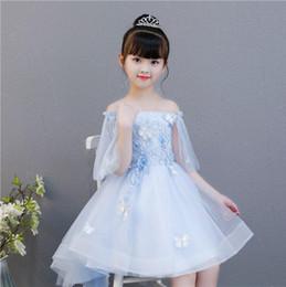 343a8177826 2019 официальное платье с голубой печатью Lastest красивый синий цветок  девушки платья для свадьбы 2019 довольно