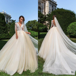 2019 fotos vestidos bolero Sexy Sheer Neck Lace vestido de baile vestidos de casamento tribunal trem 2019 ilusão mangas compridas Champagne Plus Size jardim vestido de casamento vestidos de noiva