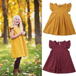 2019 kinder kleiden farbe gelb Gelb Burgund Baby Mädchen Sommer Kleid Lässig Prinzessin Party Tutu Kleider Kinder Kleidung Einfarbig Kurze Stil Kleid Kinder Boutique rabatt kinder kleiden farbe gelb