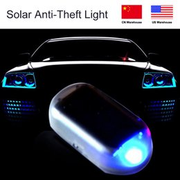 signal wire Promo Codes - 1PCS Solar LED Anti-Theft Lights Strobe Signal Lights Wire-Free Traffic Warning Car Solar Light Car Alarm LED Light